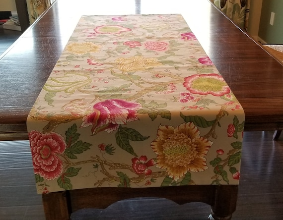 Pink And Yellow Table Runner Floral Table Runner Shabby Chic Decor Floral Linens Floral Tablecloth Outdoor Decor Table Linens