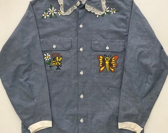 262a39bed Vintage 1970s Big Mac Chambray Hand Made Hippie Shirt Mens S M