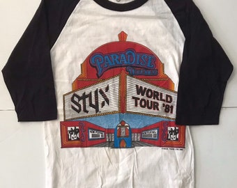Vintage Styx 1981 World Tour Band Tee Mens Size XS Concert Tee