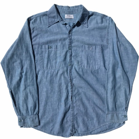 Vintage 1960s Beltex Chambray Work Shirt Mens Size