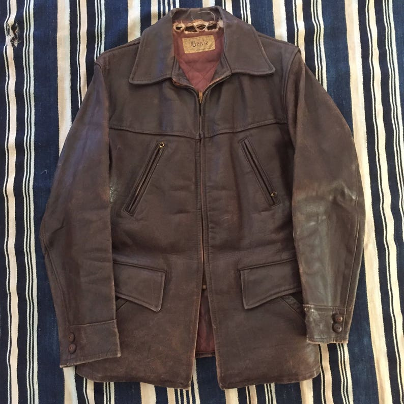 2bc6921422d Vintage 1940s Grais Horsehide Leather Jacket Mens Size 38s m