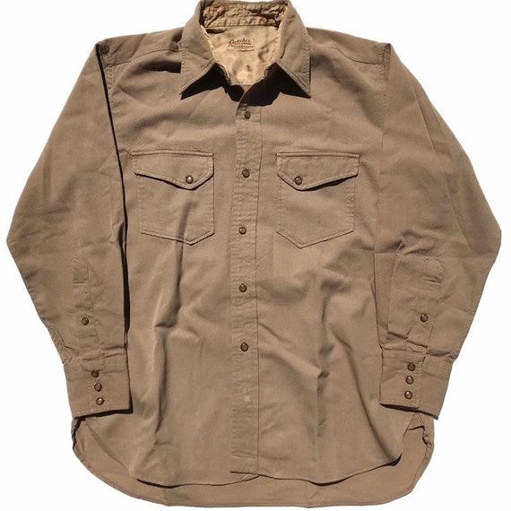 Vintage 1940s Gabardine Western Shirt Mens Size Me