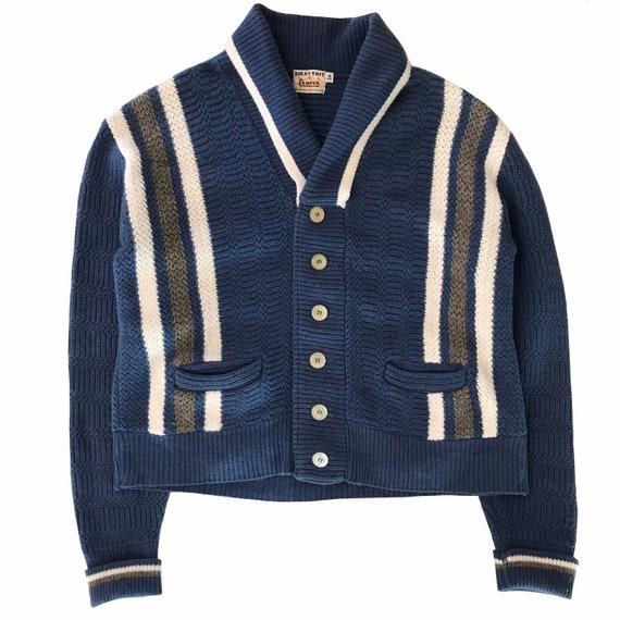 Vintage 1950s Campus Shawl Collar Cardigan Mens Si