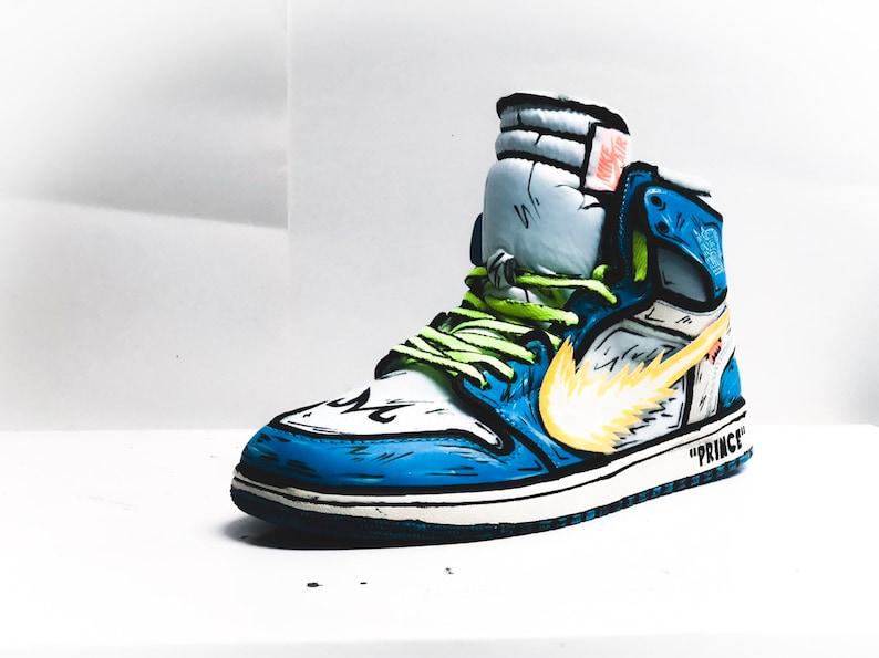 quality design 00f41 da91a VEGETA X GOKU Inspired Off White Jordan 1