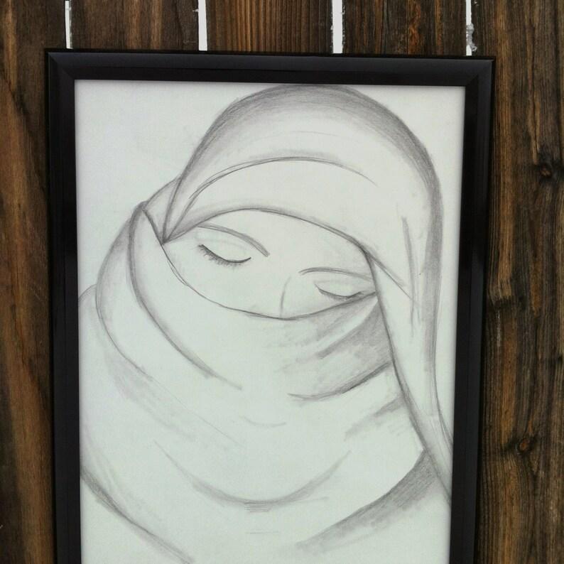 2e3445bc4e Crayon original de 12 X 14 dessin sur papier crayon femme | Etsy