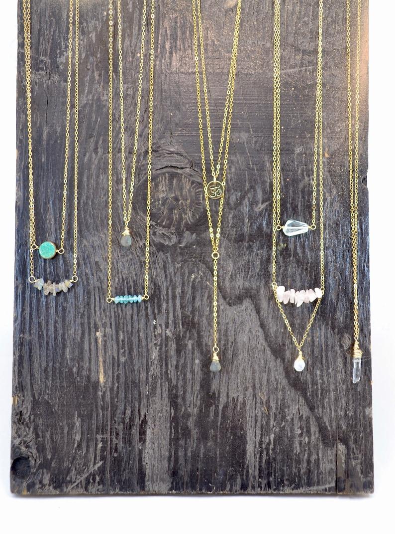 Dainty Crystal Necklaces 14K Gold Filled Dainty Necklace Gemstone Jewelry Moonstone Aquamarine Gold Filled Crystal Necklace