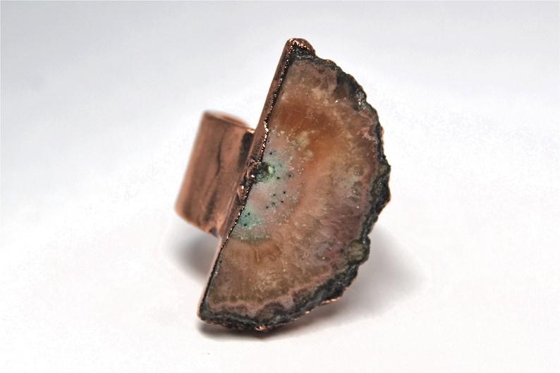 Copper Electroformed Jewelry Raw Geode Slice Raw Geode Ring Crystal Healing Electroformed Amethyst Druzy Ring Electroformed Ring