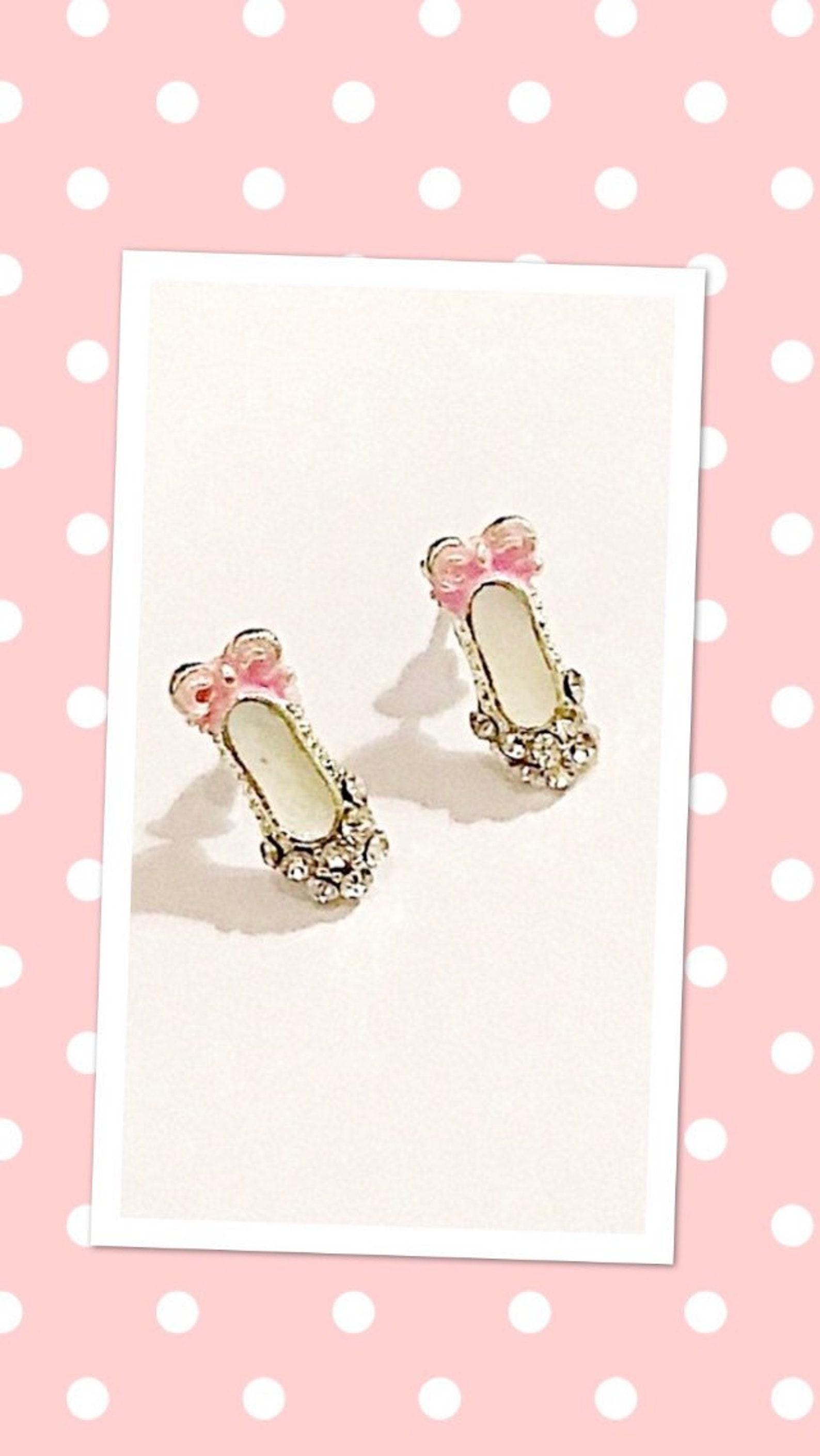 crystal ballet shoes stud earrings