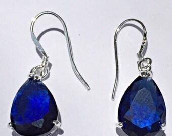 Beautiful Blue Sapphire Dangling Earrings