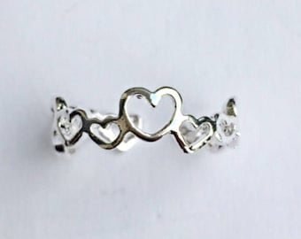Sterling Silver Hearts Toe Ring