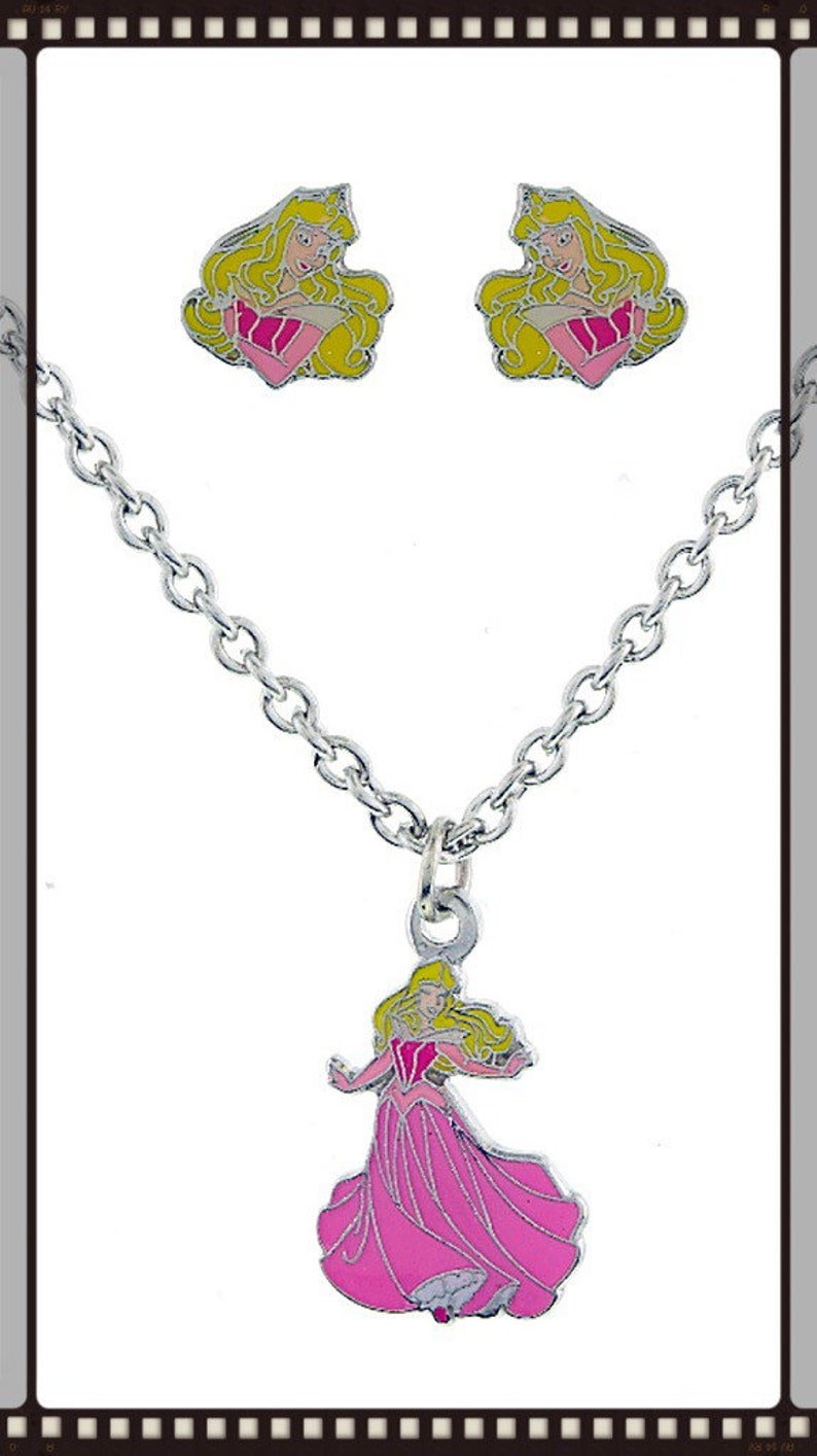 Sleeping Beauty Aurora Inspired Pendant Necklace And Earring Set ON SALE