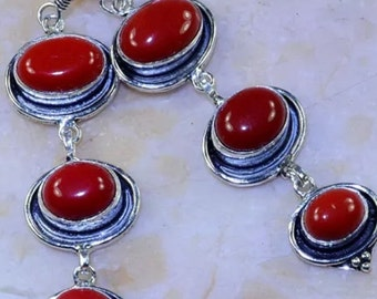 Beautiful Red Coral Dangle Earrings