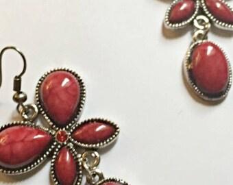 Red Turquoise Tibetan Silver Butterfly Earrings