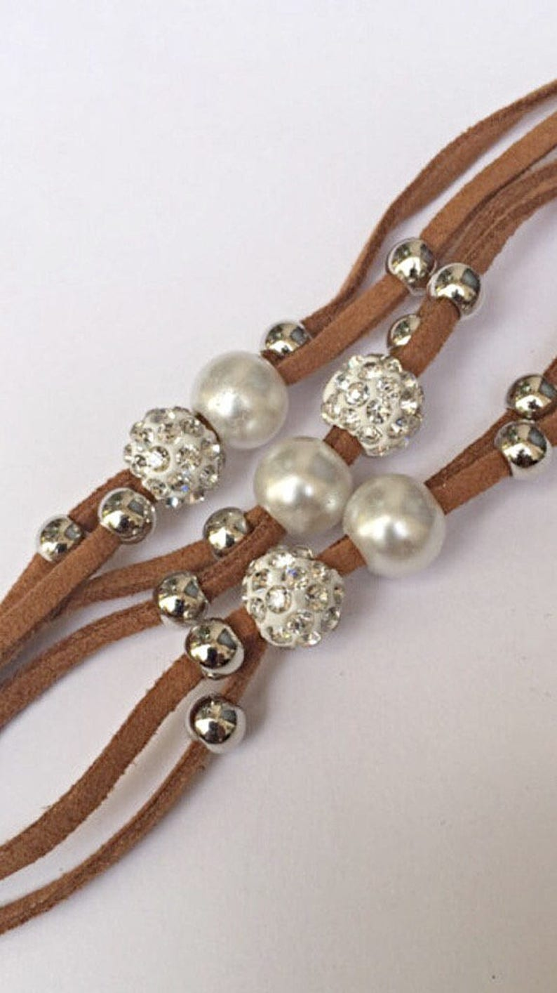 Disco Ball Brown Leather Magnetic Bracelet