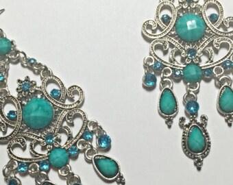 Aqua Rhinestone Dangling Earrings ON SALE