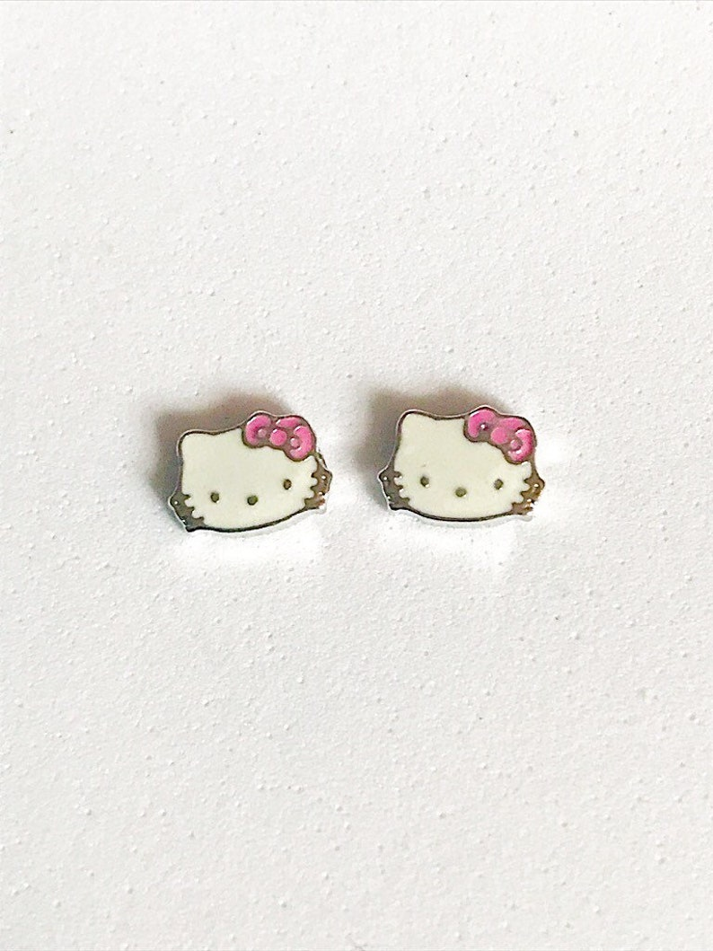2f66e8b23 Hello Kitty Inspired Stud Earrings For Young Girls ON SALE | Etsy