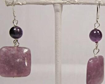 Gorgeous Purple Agate Stone Dangling Earrings