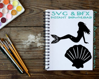 Mermaid & Shell - DXF and SVG