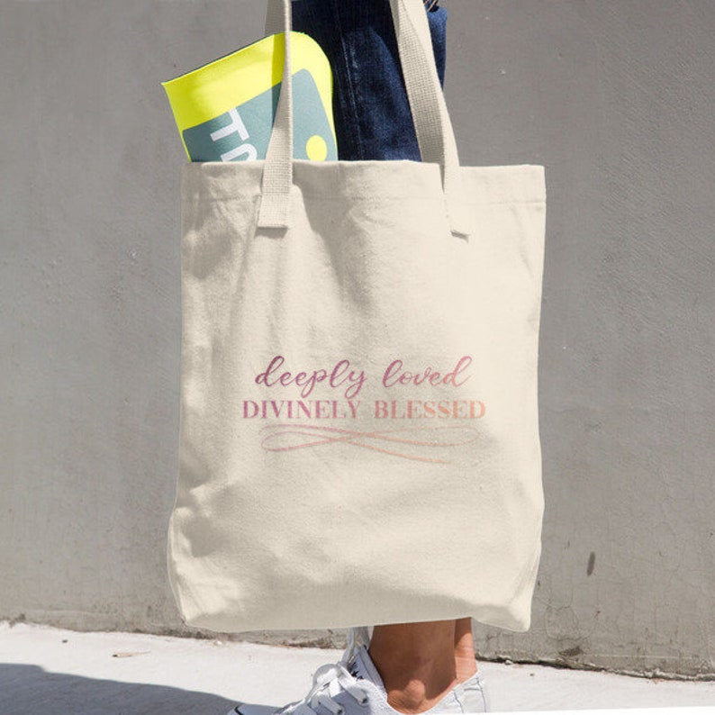 Deeply Loved Spiritual Farmers Market Bag Eco Tote Shopping Bag Divinely Blessed Cotton Tote