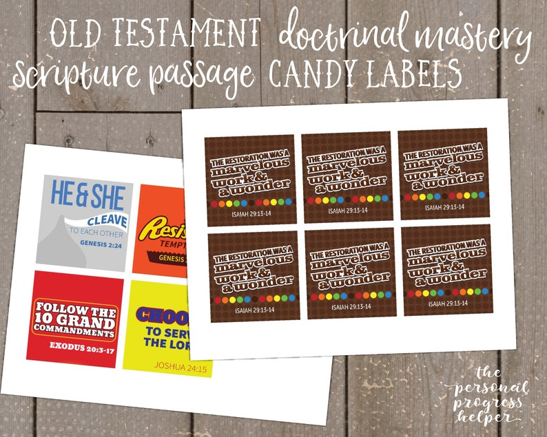 Seminary Old Testament Doctrinal Mastery Scripture Passage Candy Label Puns  for the Church of Jesus Christ of Latter-day Saints