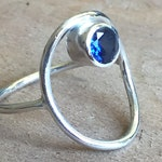 Sterling Silver Circle Ring with Gemstone