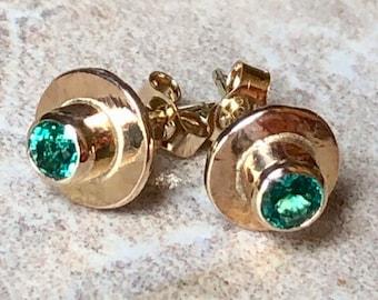 Emerald Earrings, Emerald Gold Earrings