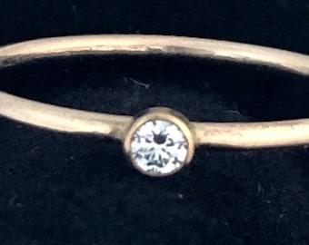 Diamond Stacking Ring, Minimalist Diamond Ring, 3mm Diamond, VS Quality GHI