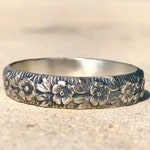 Silver Band, Patterned Silver Ring, Silver Flower