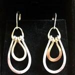 Silver and Gold Earrings, Two Tone Earrings, Dangle Earrings, Sterling Silver and Gold Filled Double Teardrop Dangle Earrings