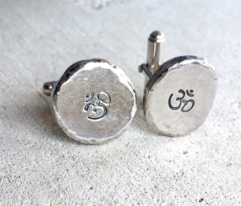 Men's Cuff Links Silver Cuff Links image 0