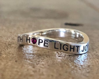 Prayer of Saint Francis, Pardon Faith Hope Light Joy, Sterling Silver Ring, BRAND NEW DESIGN