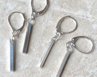 Dash Earrings, Silver Bar Earrings, Dash Dangle Earrings