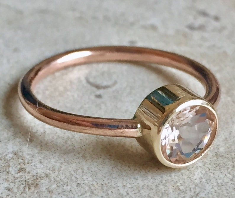 Morganite Ring Morganite Gold Ring Alternative Engagement image 0