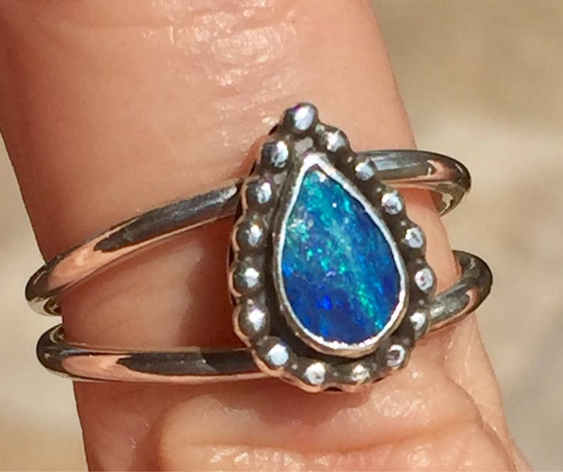 Opal Ring October Birthstone Australian Opal Ring image 0