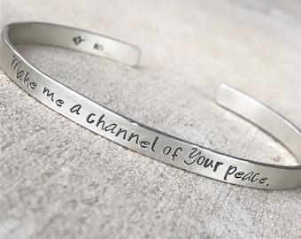 Prayer of Saint Francis Bracelet, Catholic Bracelet, Christian Jewelry, Ladies'