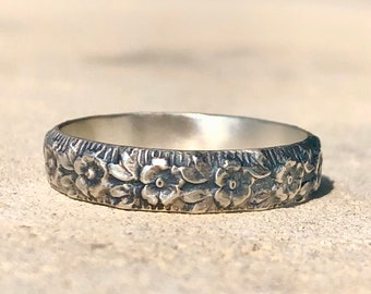 Flower Ring, Floral Silver Ring