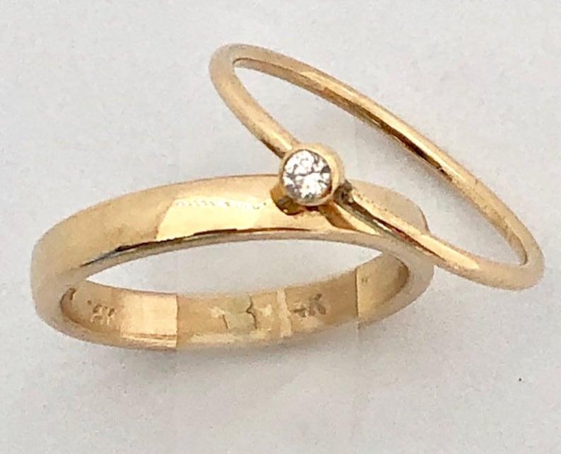 3mm Diamond Ring Dainty Diamond Ring Tiny Gold Diamond Ring image 0
