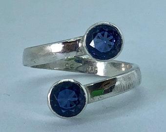 Sapphire Ring - Blue Sapphire Ring - Sapphire Silver Ring - Sapphire Bypass Ring - Best Selling Ring