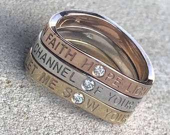 Prayer of Saint Francis, Let Me Sow Your Love, Solid 14k Gold Ring, BRAND NEW DESIGN