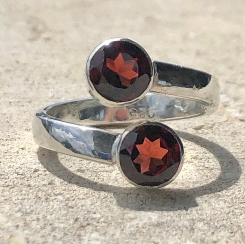 Red Garnet Ring Garnet Bypass Ring image 0