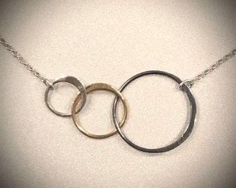 Circle Necklace, Triple Circle Necklace, Tricolor Jewelry
