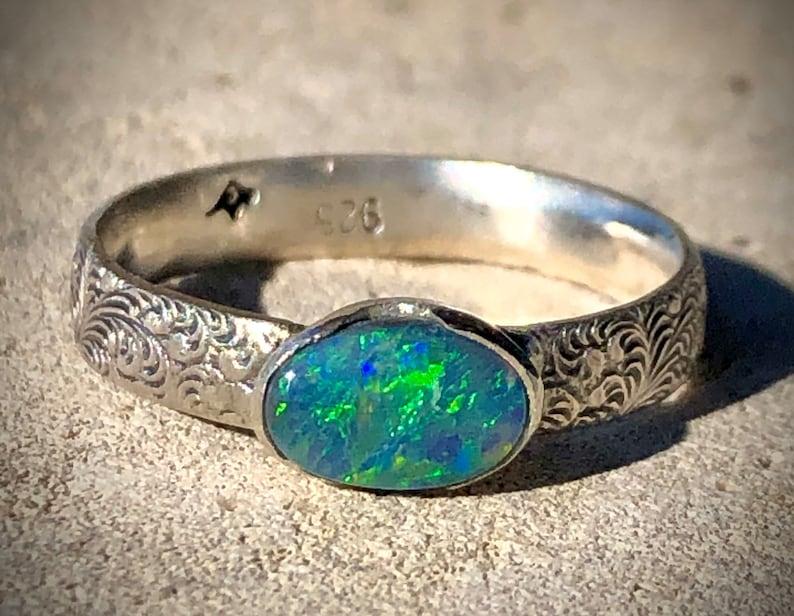Natural Semi Black Opal Ring Lightning Ridge Opal Australian image 0
