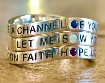 Prayer of Saint Francis, Let Me Sow Your Love, Sterling Silver Ring, BRAND NEW DESIGN