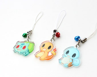 """Pokemon Kanto Starters - Bulbasaur, Charmander, Squirtle 1"""" Mini Acrylic Charm with Phone Strap (Double Sided Front & Back)"""