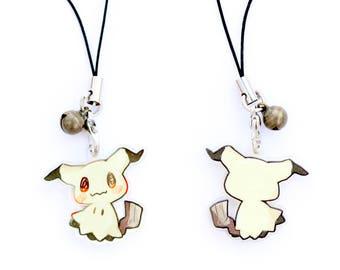 "Pokemon Mimikyu 1"" Mini Acrylic Charm with Phone Strap (Double Sided Front & Back)"