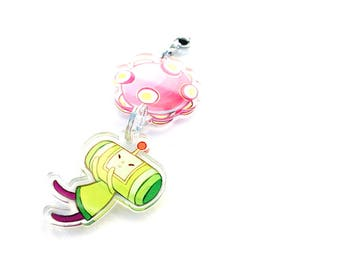 Katamari Damacy - Deluxe Hand-Drawn Double Sided Front & Back Anime Acrylic Charm with Phone Strap