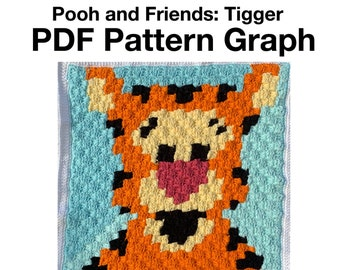 Pooh Bear and Friends Baby Blanket - Tigger PDF Pattern Graph