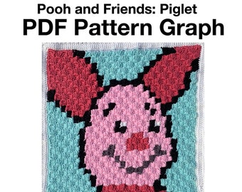 Pooh Bear and Friends Baby Blanket - Piglet PDF Pattern Graph