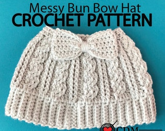 Cabled Messy Bun Bow Hat PDF Pattern