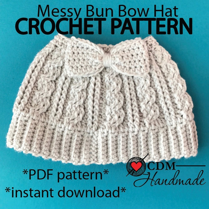 Cabled Messy Bun Bow Hat PDF Pattern image 0